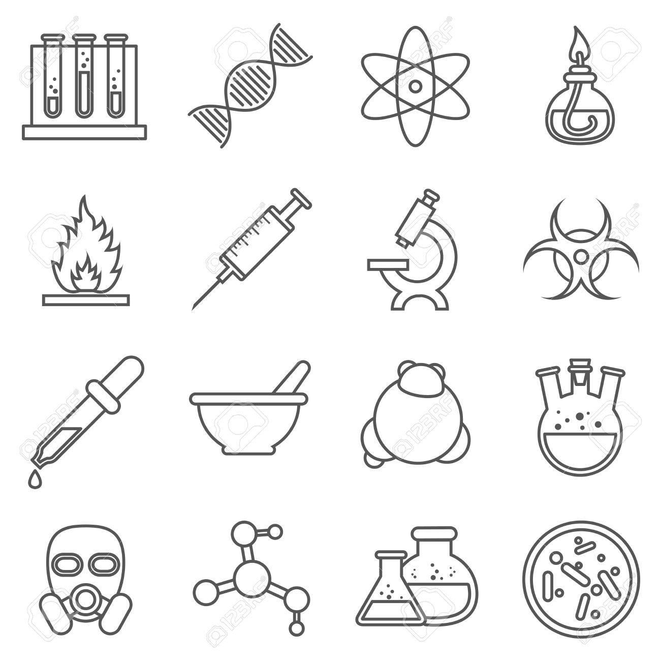 Los Experimentos Científicos Química Y Tecnología De Bio Iconos De Líneas Biología Molecular La Estructura De La Molécula Ilustración Vectorial