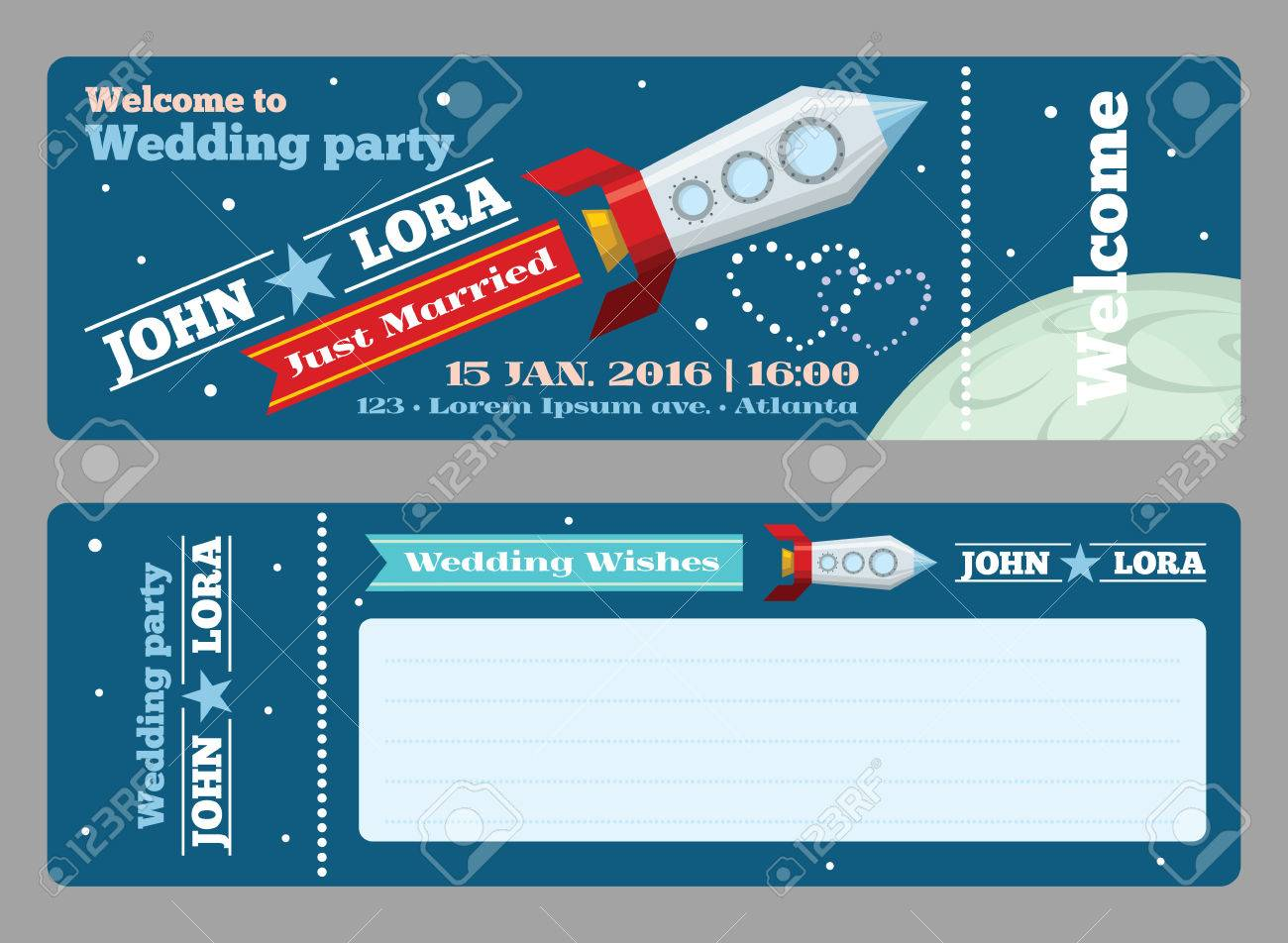 Tickets Template For Wedding Invitations. Greeting Blank, Rocket ...