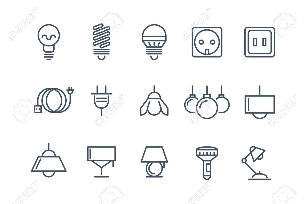 Lamp And Bulbs Line Icons Set. Electrical Symbols, Energy Electric ...