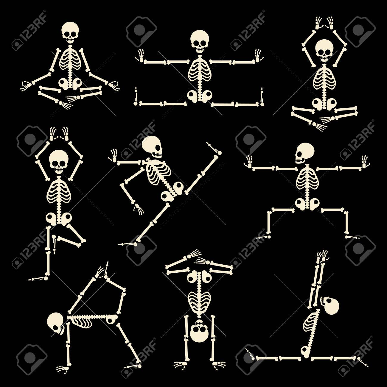 Kung fu and yoga skeletons set. Human pose anatomy, body comic, healthy fitness, vector illustration Stock Vector - 50709776