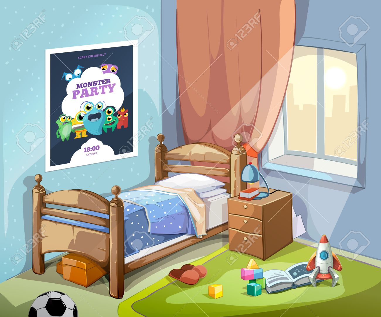 Childrens Bedroom Interior In Cartoon Style With Football Ball And Toys Vector Ilration Stock Vector