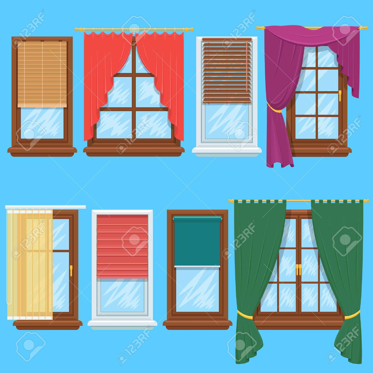 Window curtains and blinds set. Jalousie for house or creative home interior, vector illustration - 51088573
