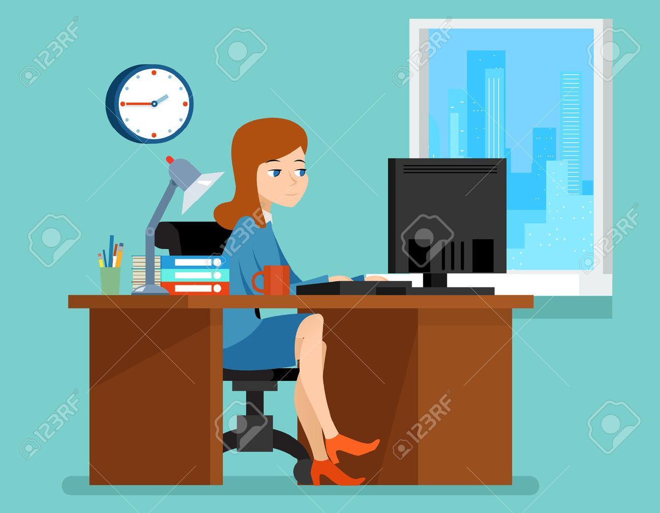Woman working in office at the desk with computer. Professional workplace. Business woman on workplace vector illustration in flat style - 51088612