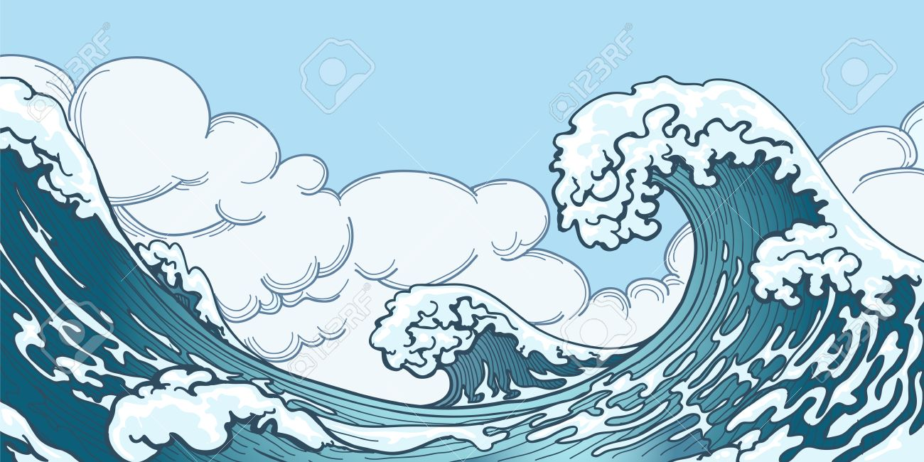 Ocean big wave in Japanese style. Water splash, storm space, weather nature. Hand drawn big wave vector illustration - 51088654