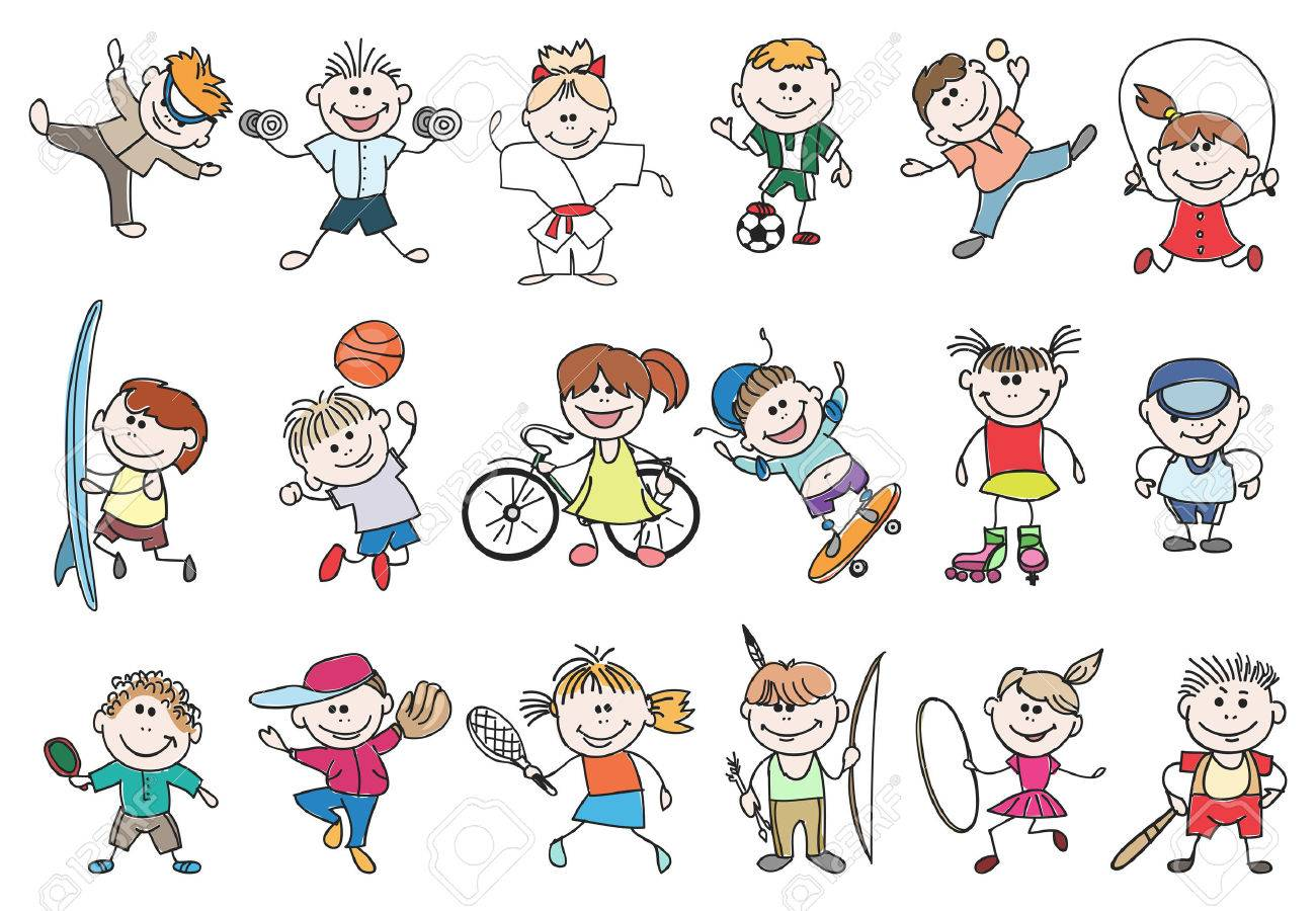 Kids sport activity. Basketball and tennis, soccer and baseball, jump athletic lifestyle. Doodle children sport activity vector illustration - 51088678