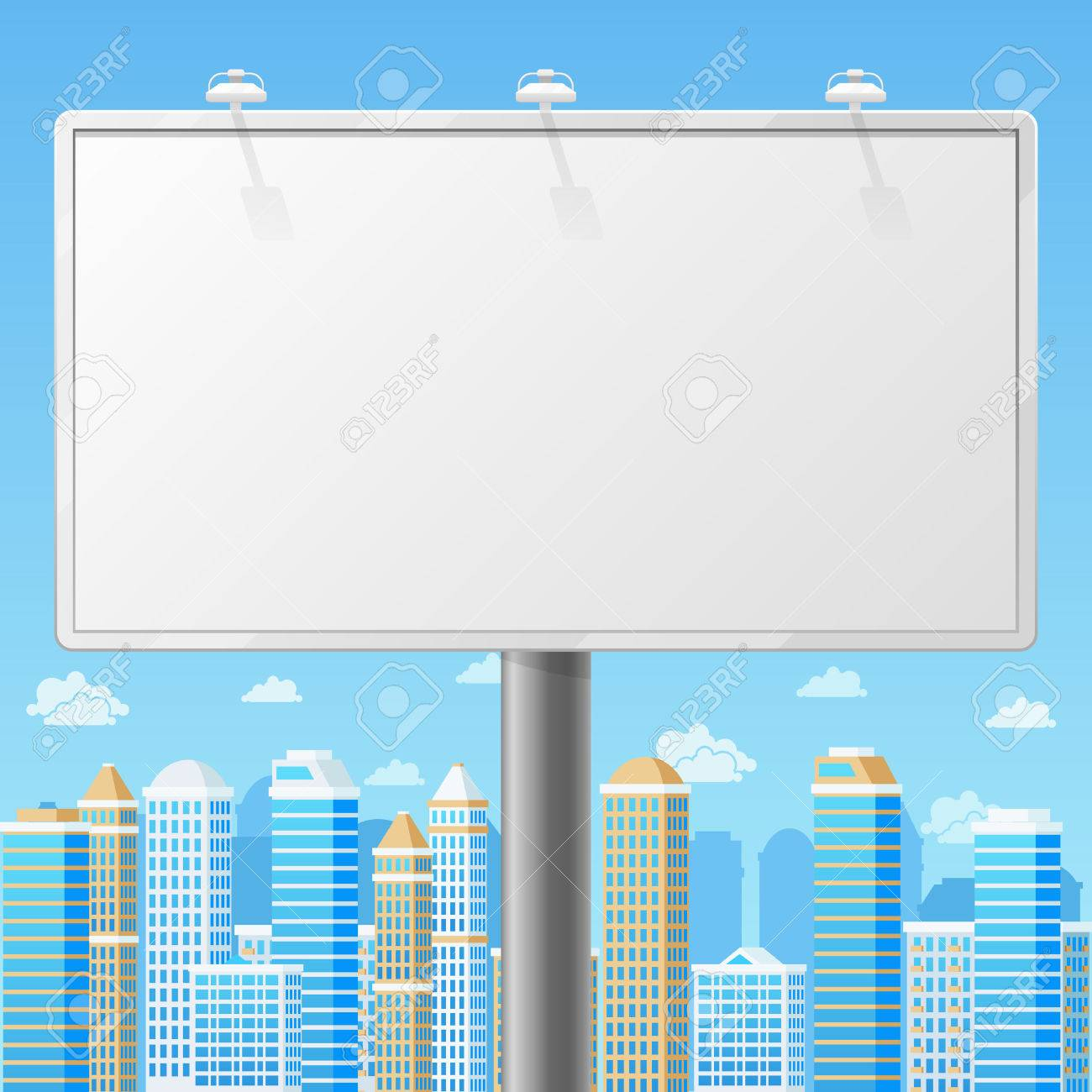 Blank Billboard With Urban Background Advertising Commercial Frame Advertisement Outdoor Board Or