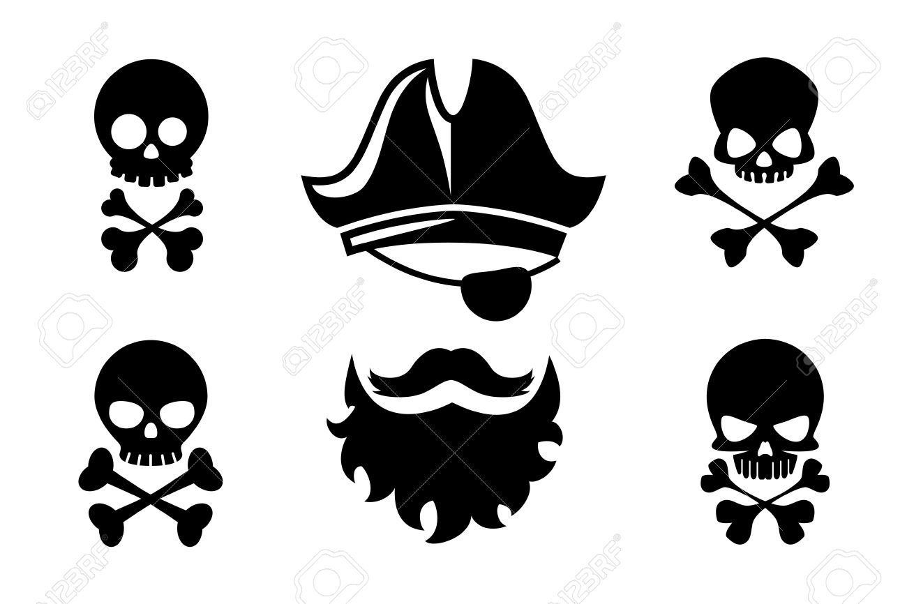 0554d7beeba Pirate head vector icons with skull and crossed bones. Hat and bone