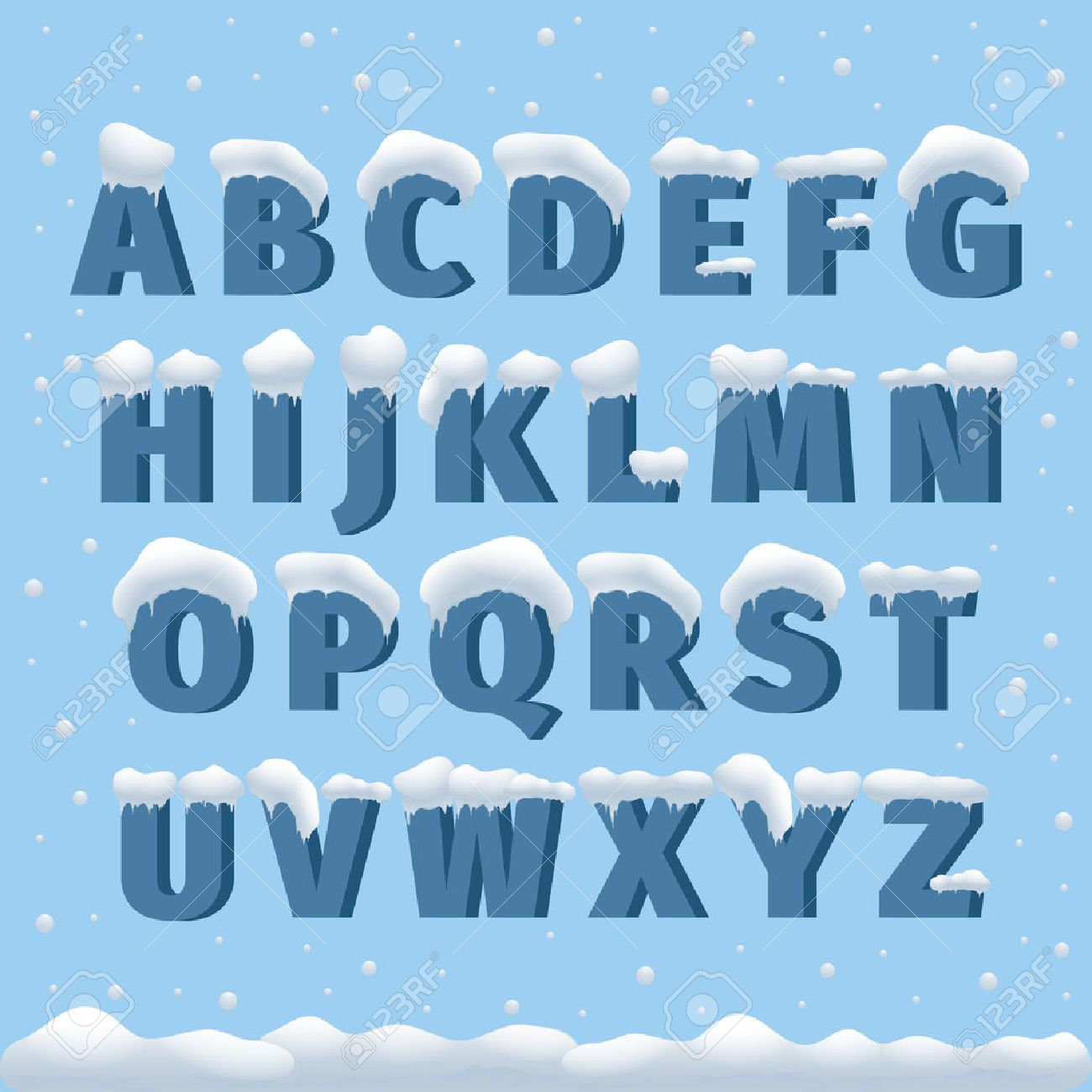 winter vector alphabet with snow letter abc ice cold font