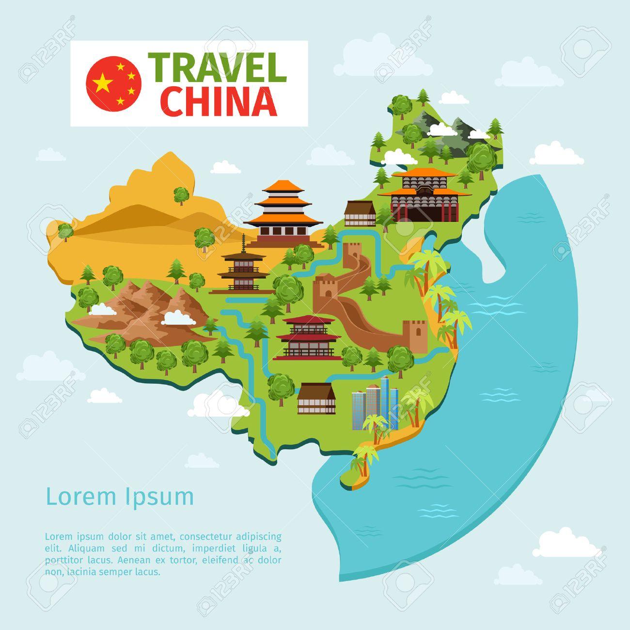Carte Chine Voyage.Chine Voyage Carte Vectorielle Avec Des Reperes Traditionnels Chinois Culture Est Asiatique Le Tourisme Du Pays Chine Carte Voyage Illustration