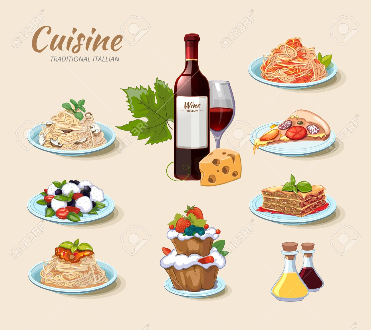 Italian cuisine vector icons set in cartoon style. Cake and cheese, wine and pizza, food menu, pasta spaghetti illustration - 51643719
