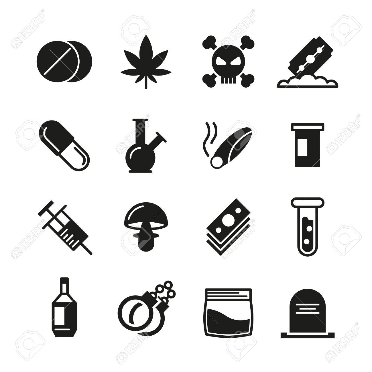 Drugs black vector icons set addiction narcotic marijuana and addiction narcotic marijuana and syringe mushroom and cocaine biocorpaavc Choice Image