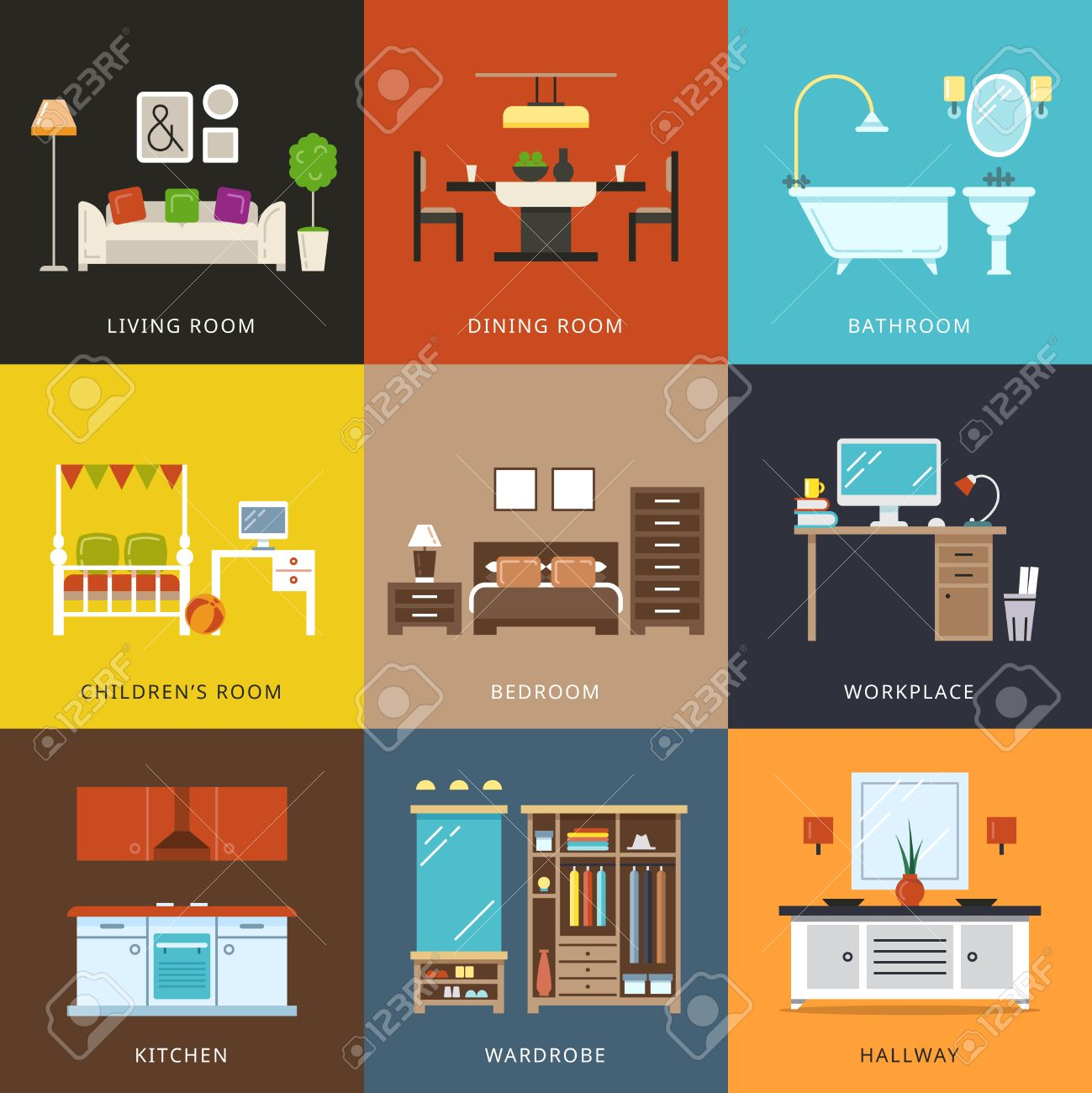 All rooms in the house rooms of homes vector art image illustration - Vector Illustration In Flat Style Interior Of Different Rooms Types Furniture For Home Hallway And Wardrobe Workplace And