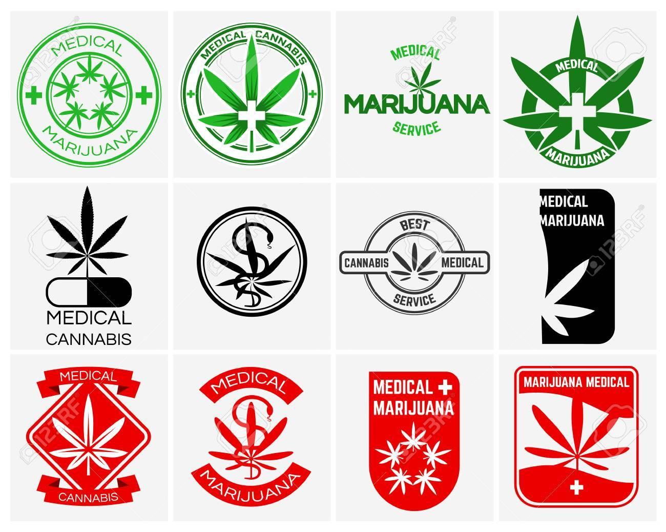 Marijuana Médicale Ou Vecteur De Cannabis Logos, étiquettes Et Emblèmes Fixés. Herb Drogue, Feuille Juridique Weed Illustration Clip Art Libres De Droits , Vecteurs Et Illustration. Image 51644109.