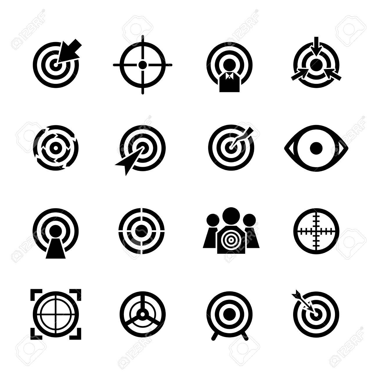 Target vector icons set. Business or sport aim, aiming goal, focus success illustration - 51644161