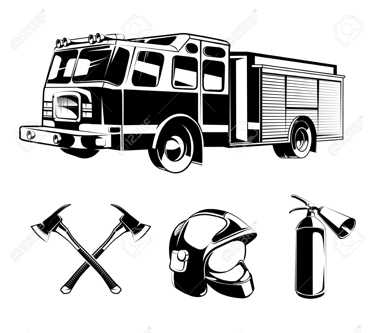 Firefighters vector elements for labels or logos. Helmet and axe, protection and rescue illustration - 51644172