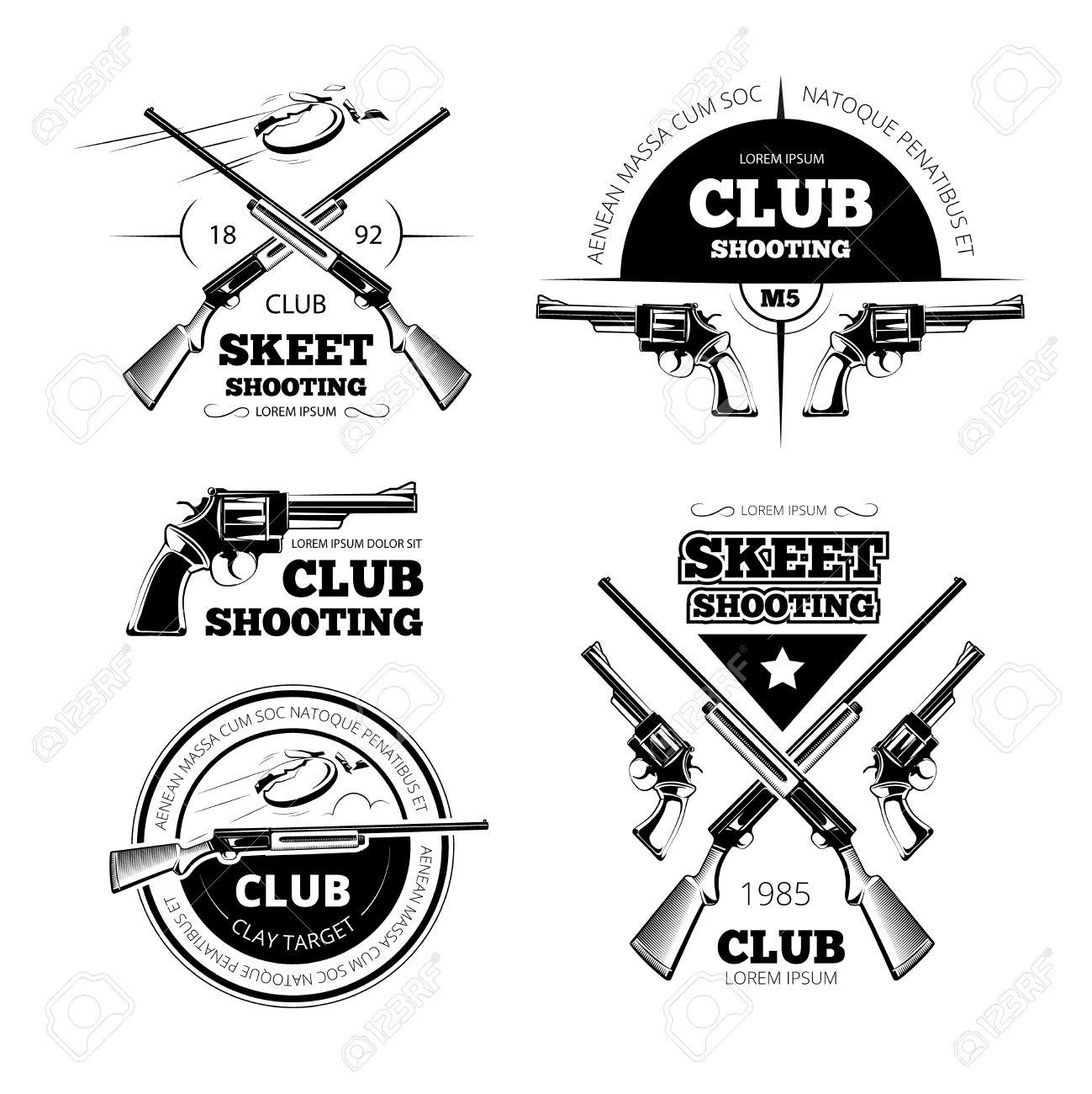 Vintage gun club labels, logos, emblems set. Badge and gun, weapon rifle, vector illustration - 51644176