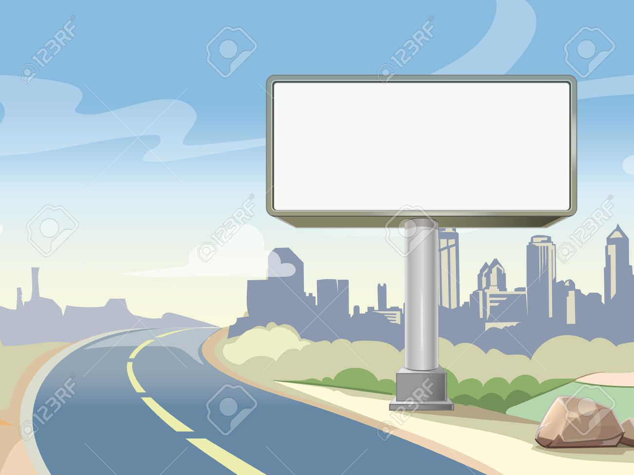 Blank advertising highway billboard and urban landscape. Commercial advertisement outdoor, board poster. Vector illustration - 51644314