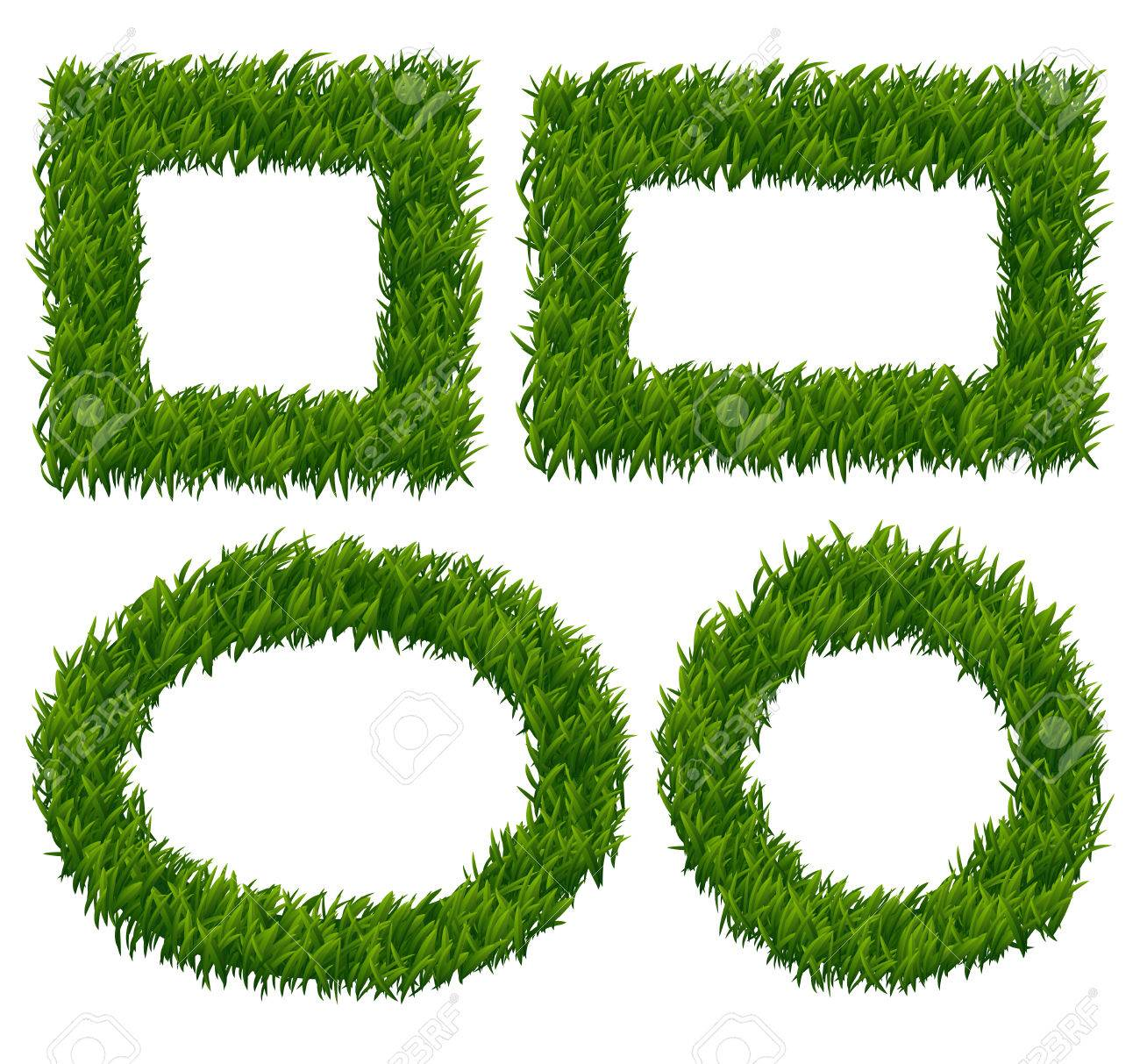 Green Grass Frames Vector Set. Nature Plant, Herb Pattern, Eco ...