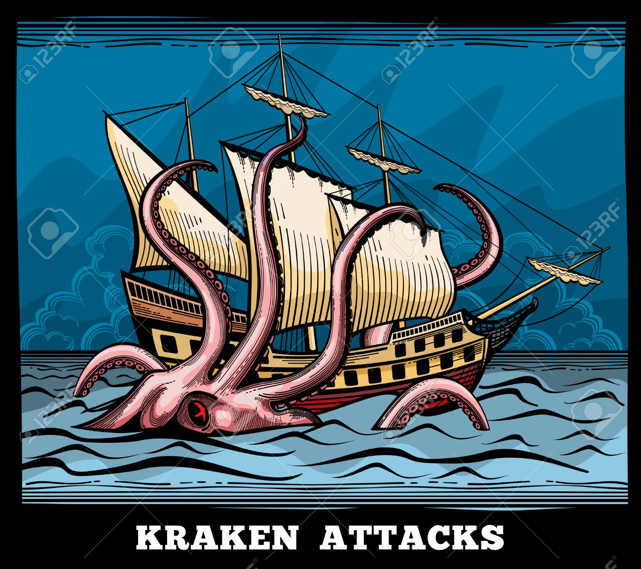 Sailing vessel and Kraken monster octopus vector logo in cartoon style. Squid with tentacle myth, adventure voyage illustration - 51706894
