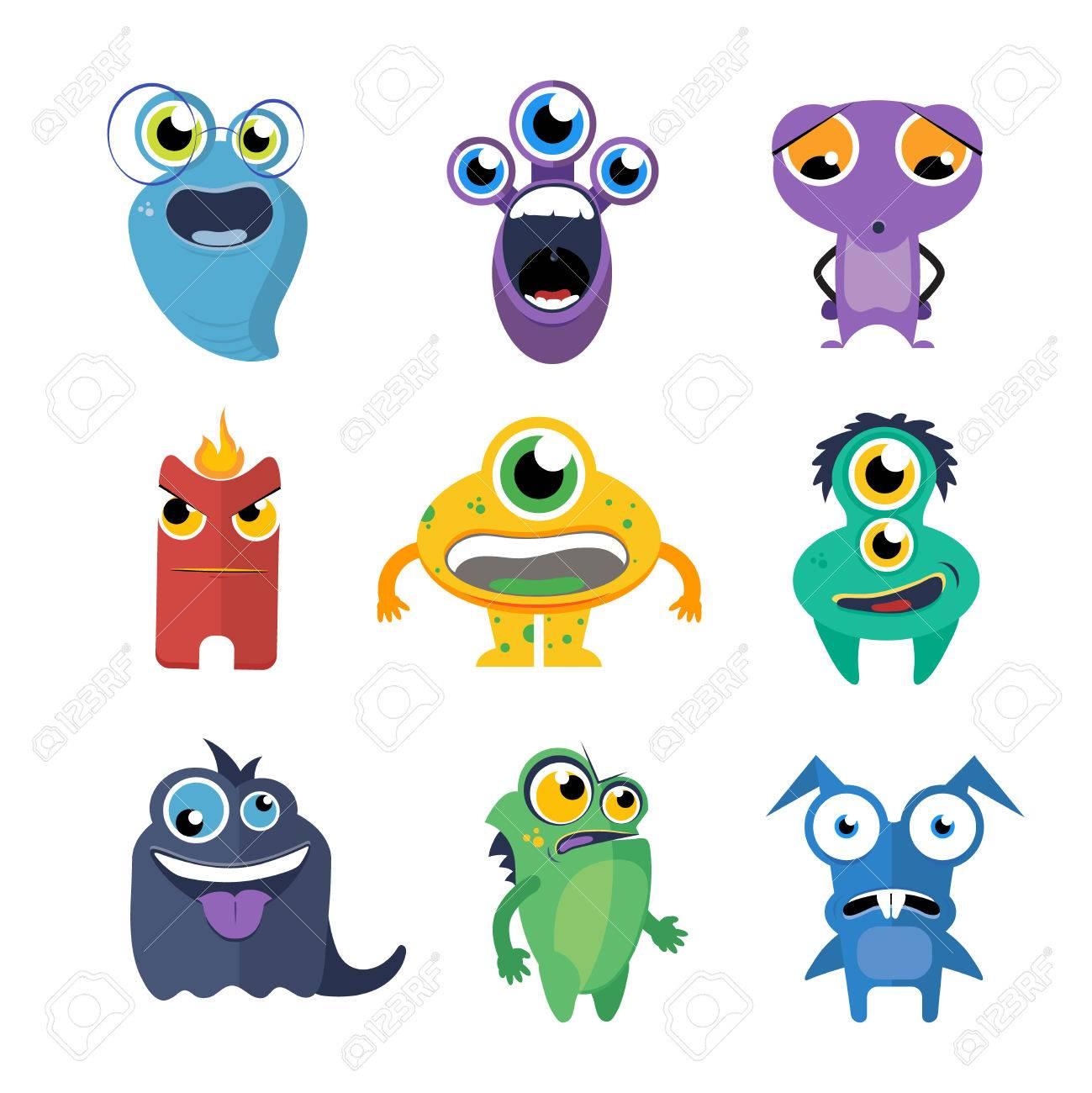 monstruos del vector lindo fijó en estilo de dibujos animados