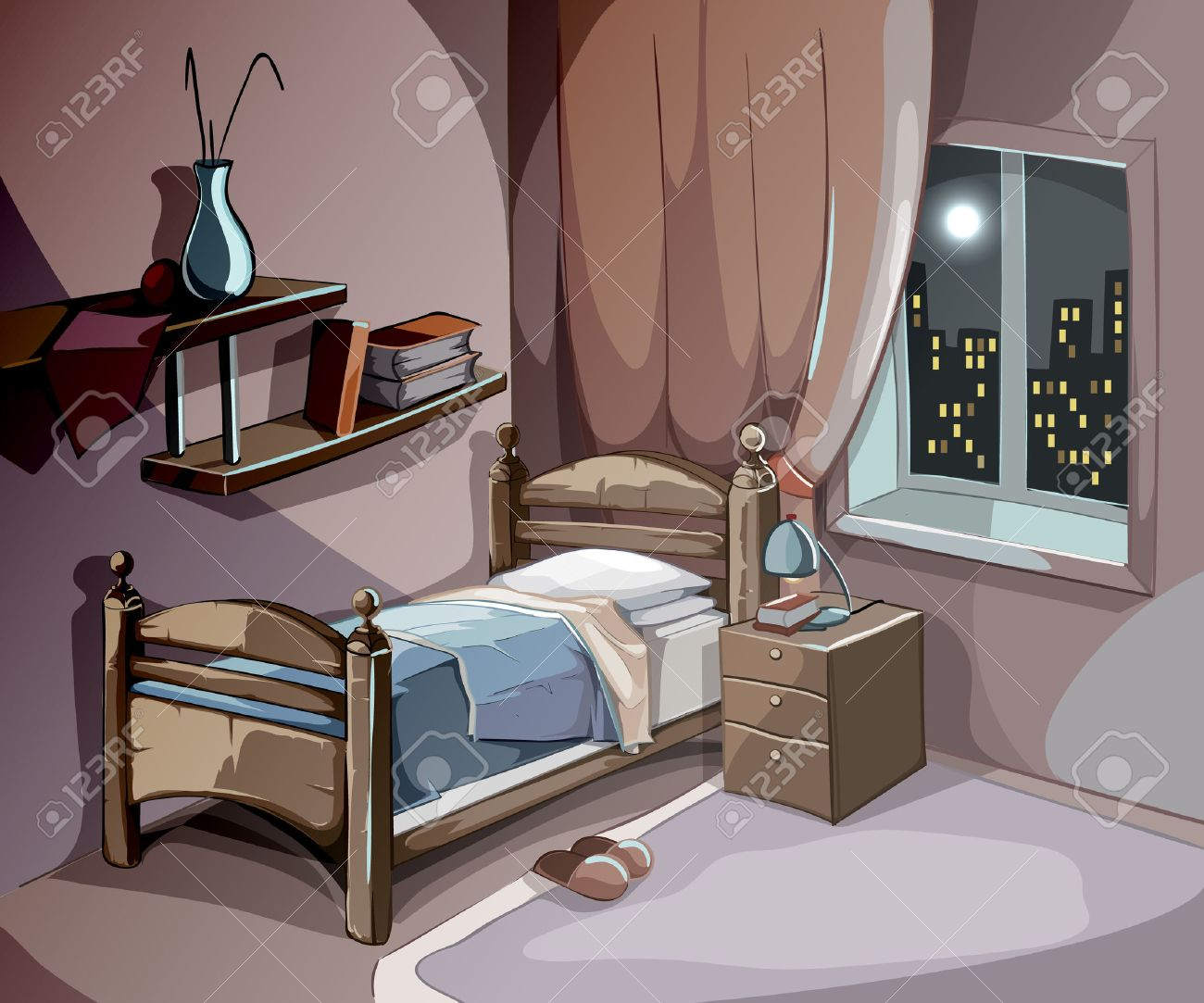 Bedroom interior at night in cartoon style. Vector sleeping concept background. Illustration room with bed furniture, comfort for sleep relaxation and dream - 51706899