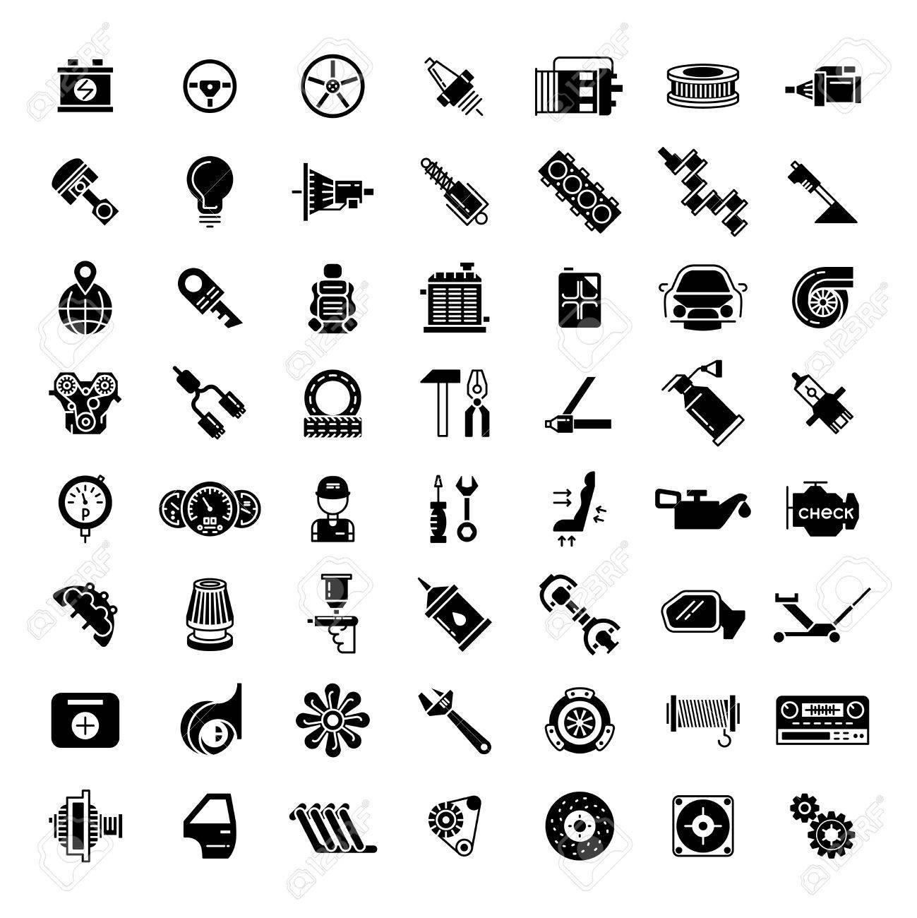 Schwarzes Auto Teile Symbole. Getriebe Für Den Automobil-, Batterie ...
