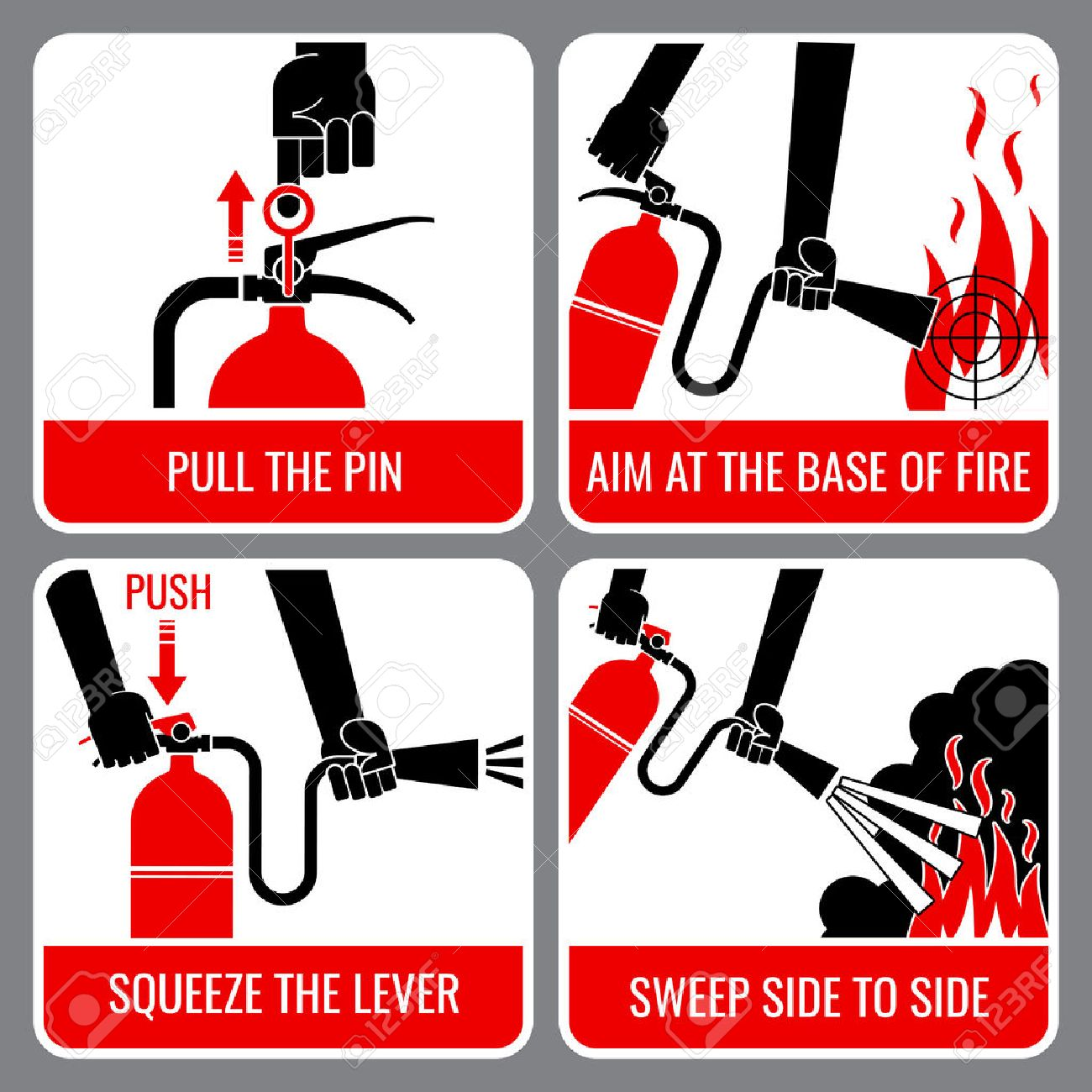 Fire extinguisher vector instruction. Warning and danger, flame and caution, informational banner illustration - 51706928