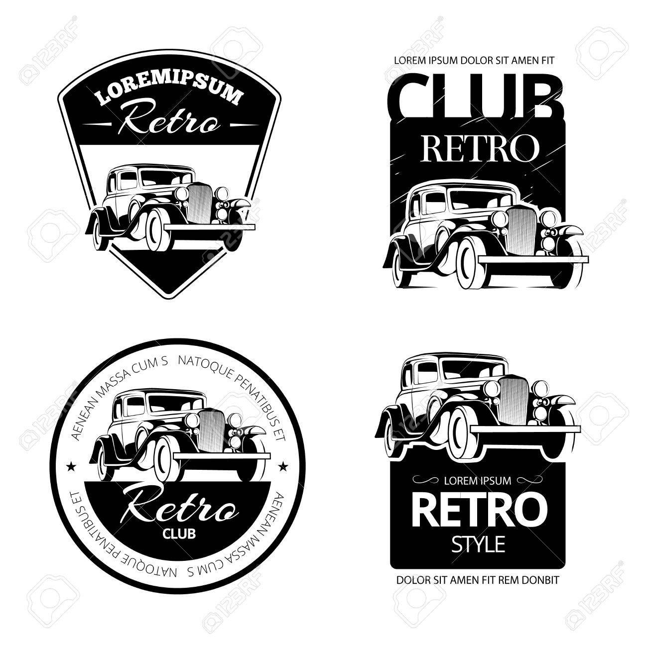 Classic Muscle Car Vector Labels Emblems And Badges Set Retro