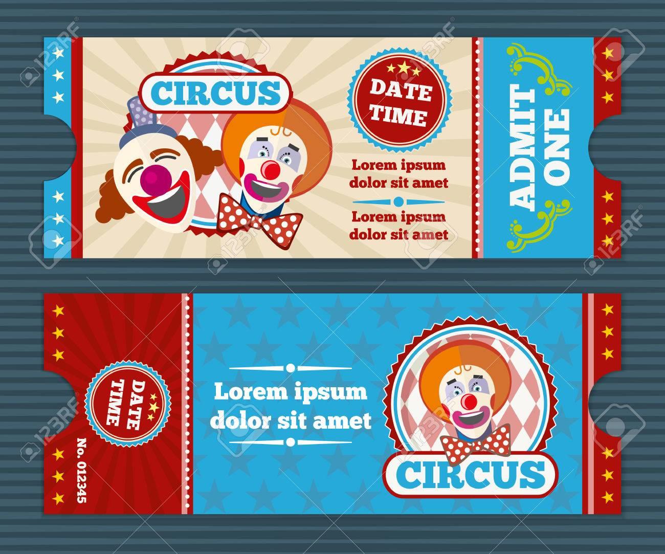 Circus Ticket Vector Template Circus Invitation Coupon Clown