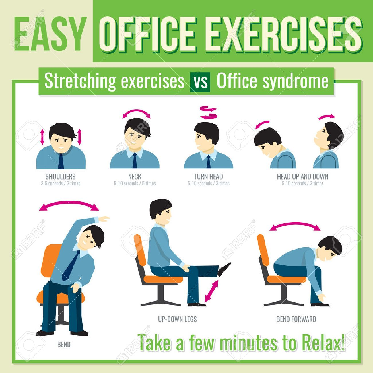 office exercises with businessman character relax exercise