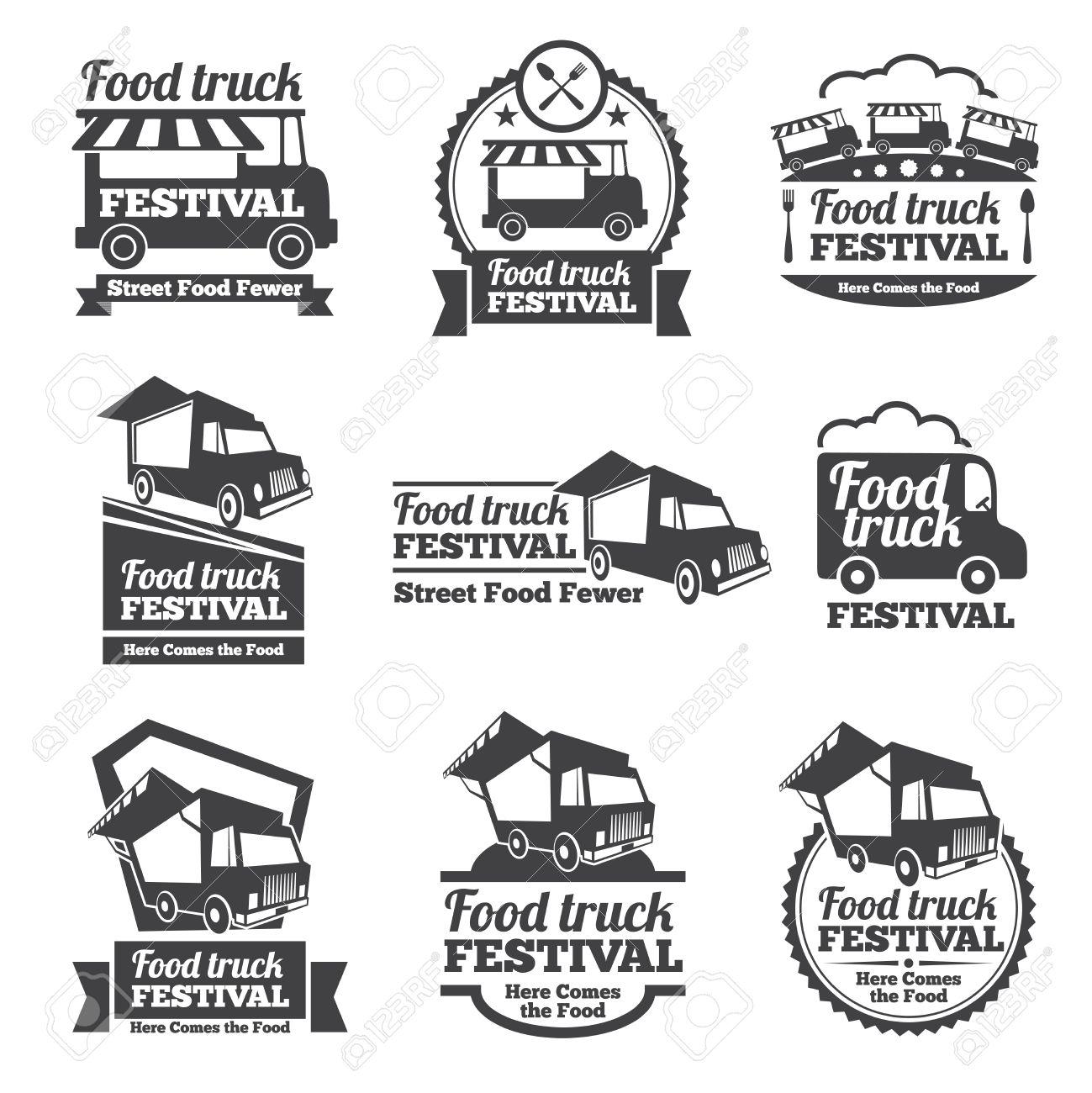 Food truck festival emblems and logos vector set. Festival street food, badge food festival, emblem food truck illustration Stock Vector - 51706993