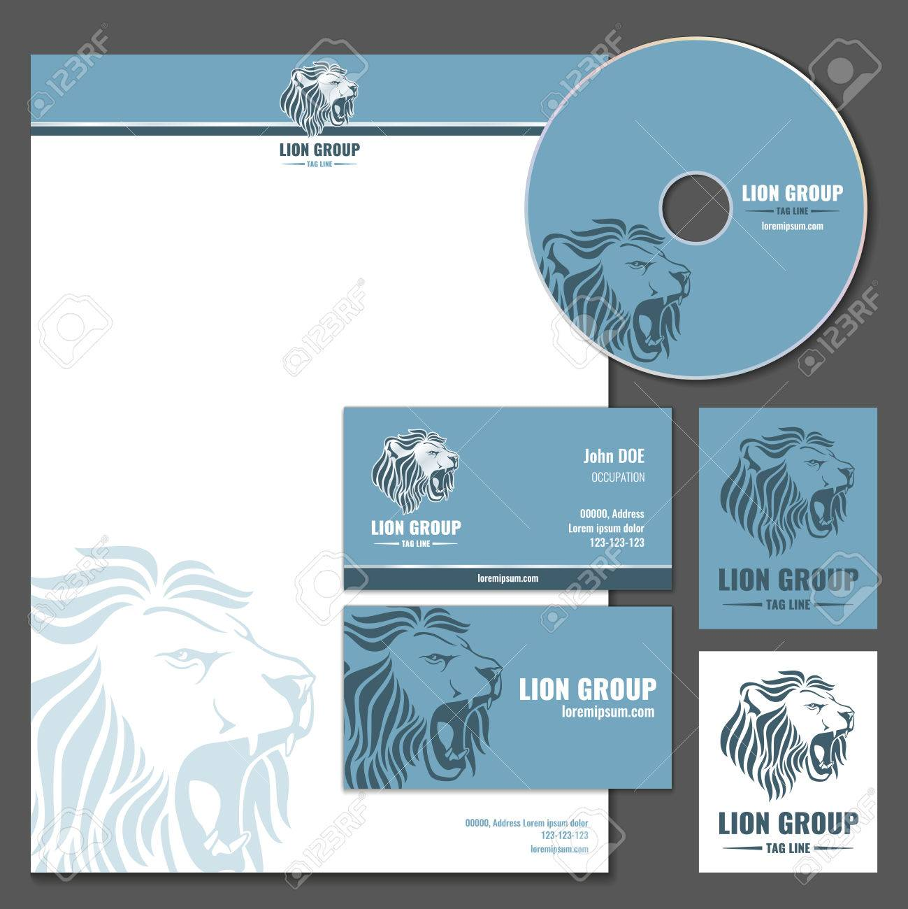 Business Card Vector Template With Lion Logo. Business Branding ...