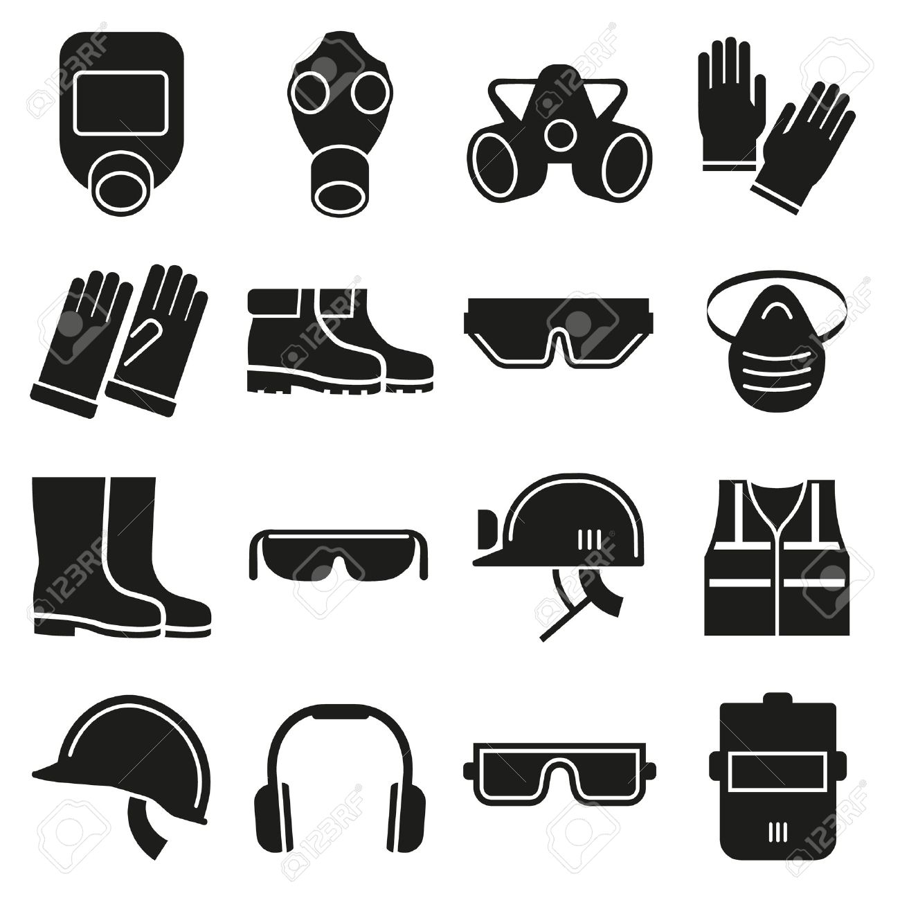 Job safety equipment vector icons set. Safety helmet, equipment for industry job, safety protection mask, safety glove and glasses illustration - 51707032