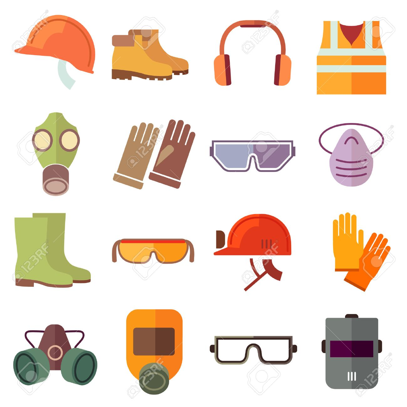 Flat job safety equipment vector icons set. Safety icon, helmet equipment, job industrial, safety headgear and protection boot illustration - 51707030