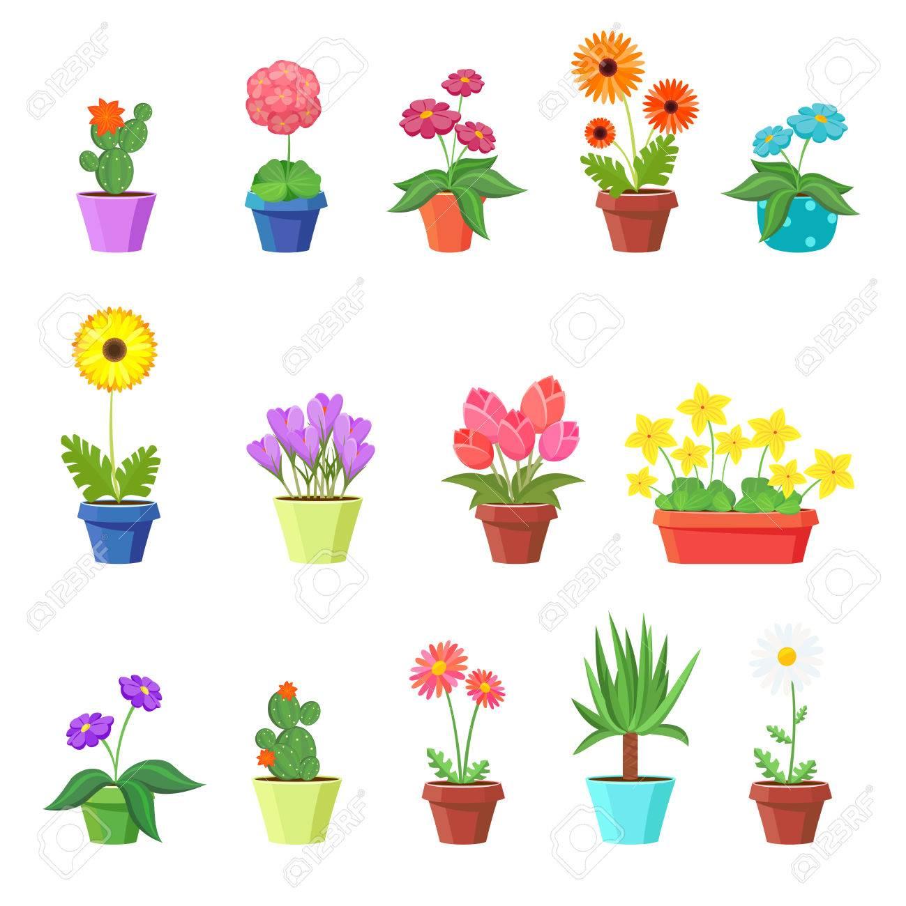 Cute Spring Flowers In Pots Vector Flower Spring Flower Pot