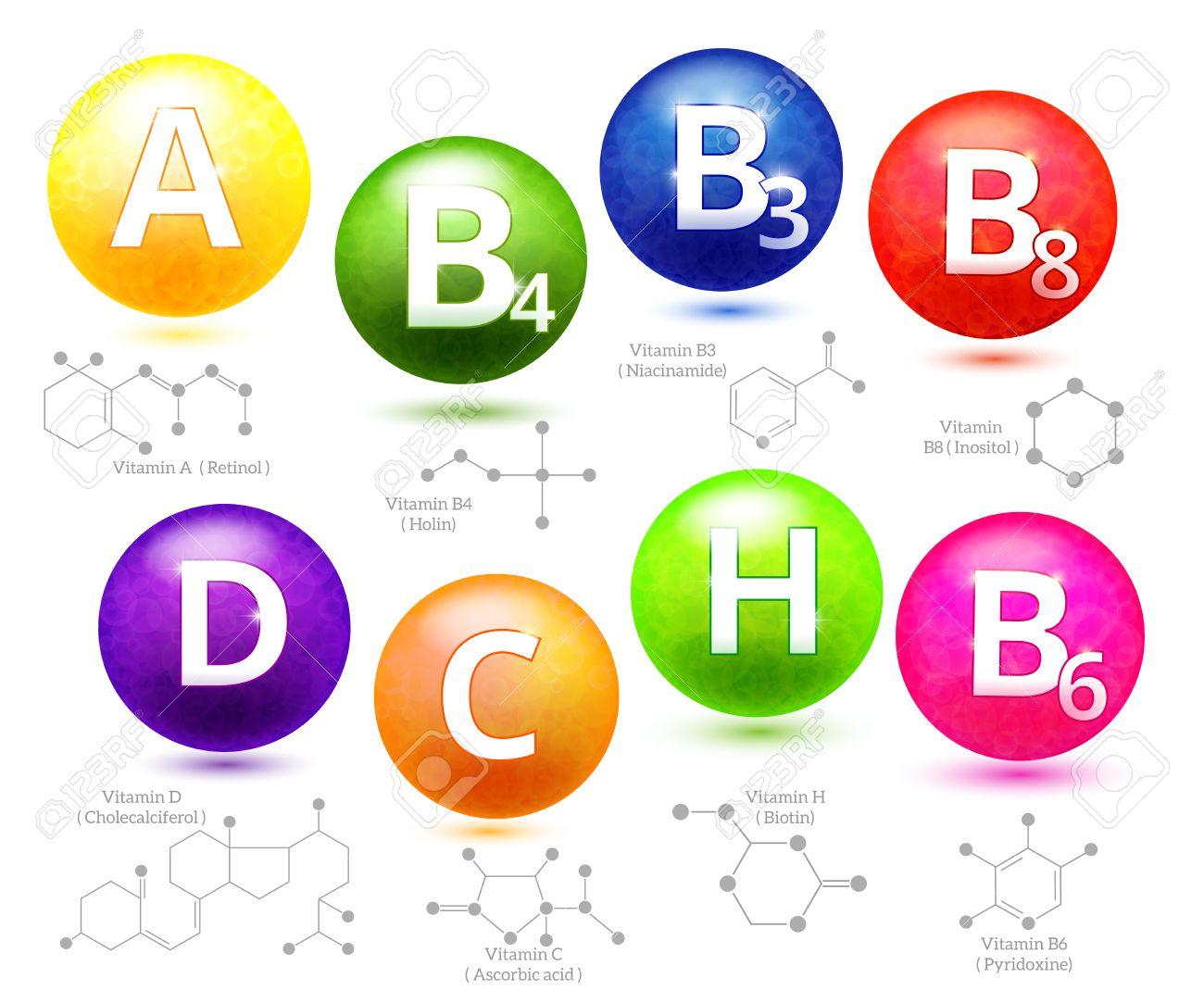 Vitamins chemical structures. Molecule vitamin, molecular chemical vitamin, structure chemistry vitamin, vector illustration - 52208467