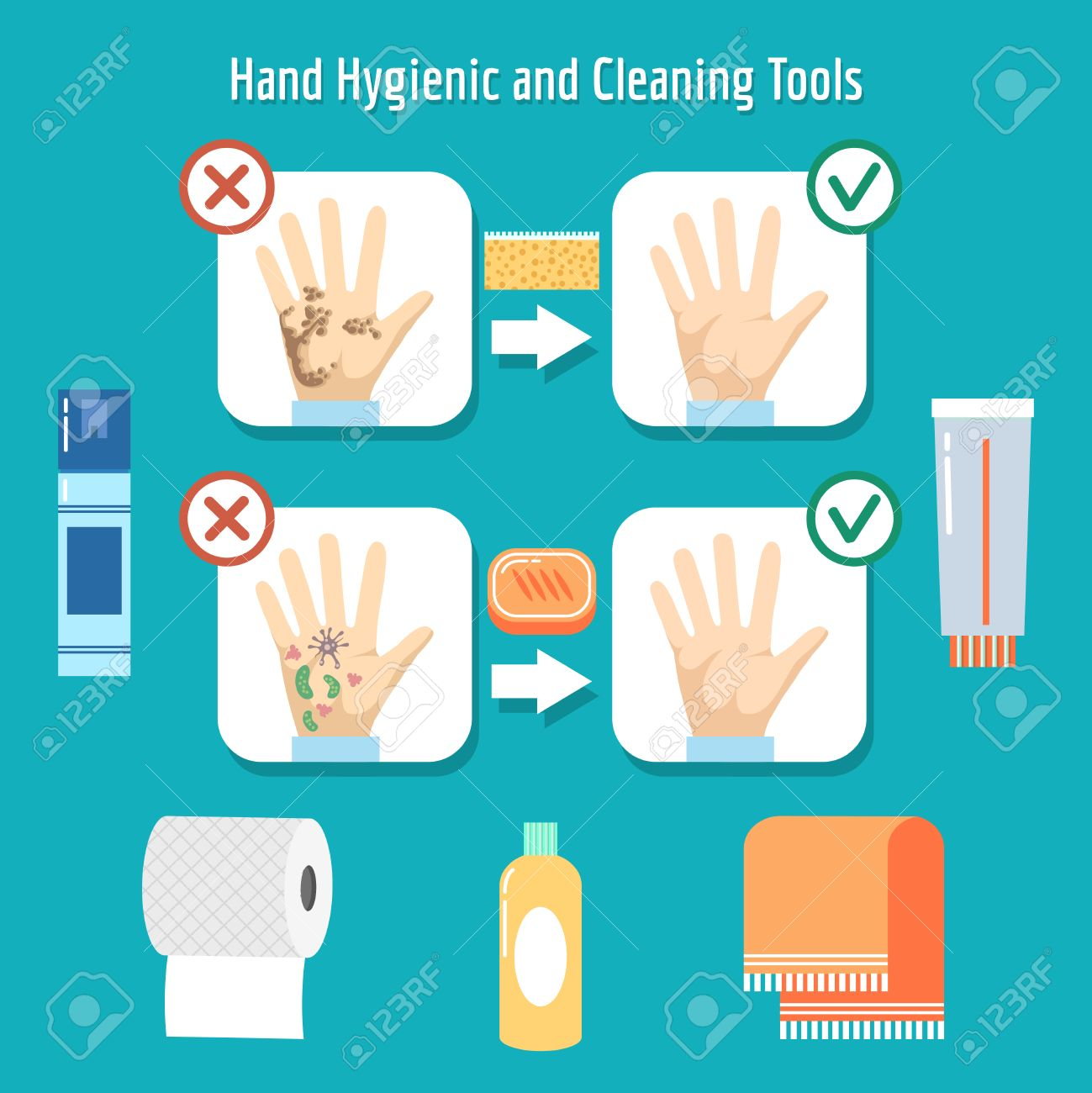 Personal Hygiene Items Hand Wash Hygienic Dirty Vector Illustration