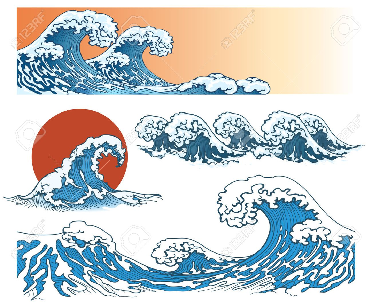 Waves in japanese style. Sea wave, ocean wave splash, storm wave. Vector illustration - 52208554