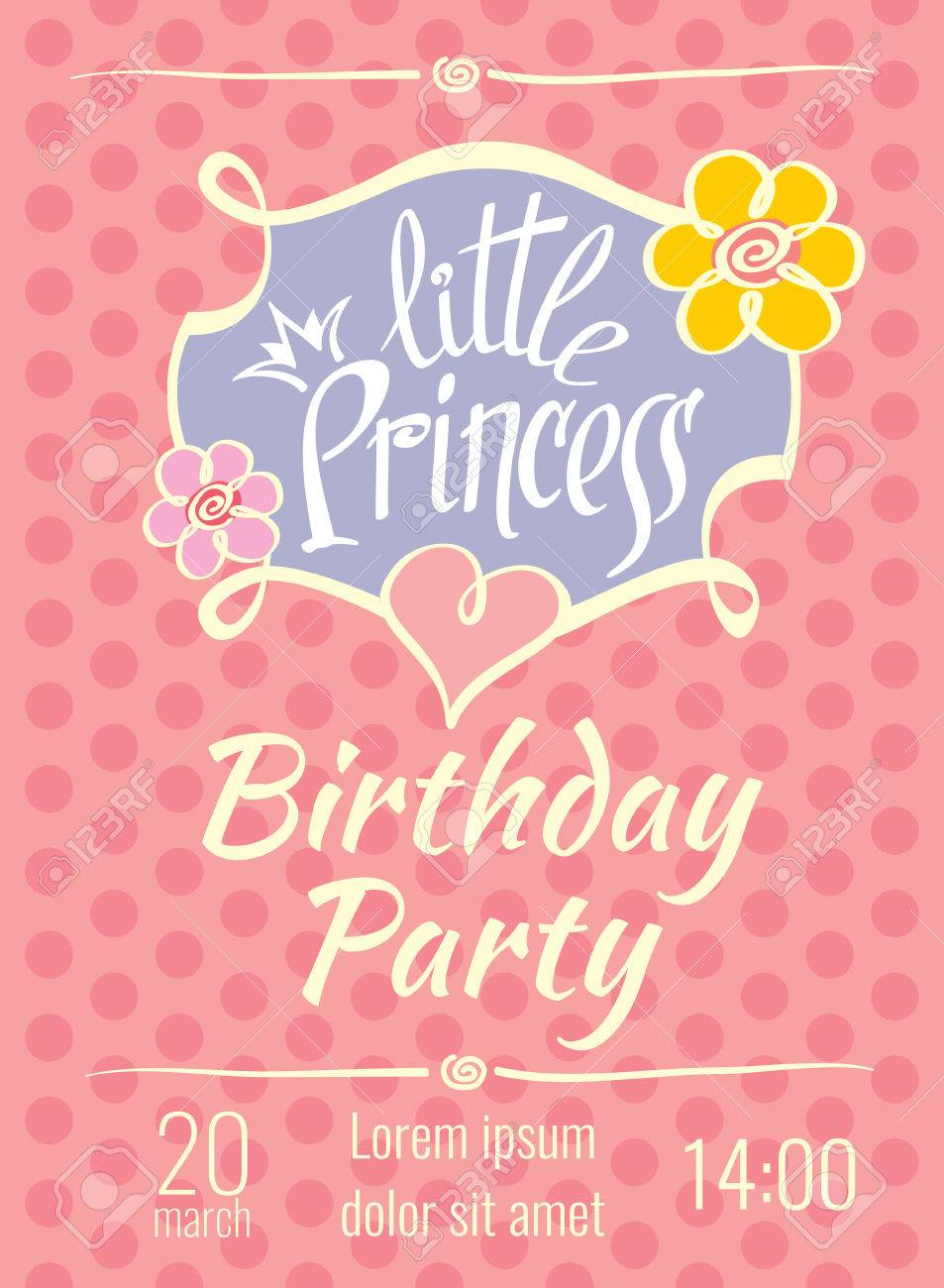 little princess birthday party vector poster or invitation card