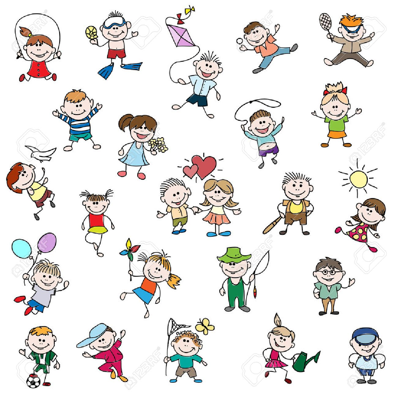 childrens drawings of doodle people children girl and boy cartoon drawing childhood play