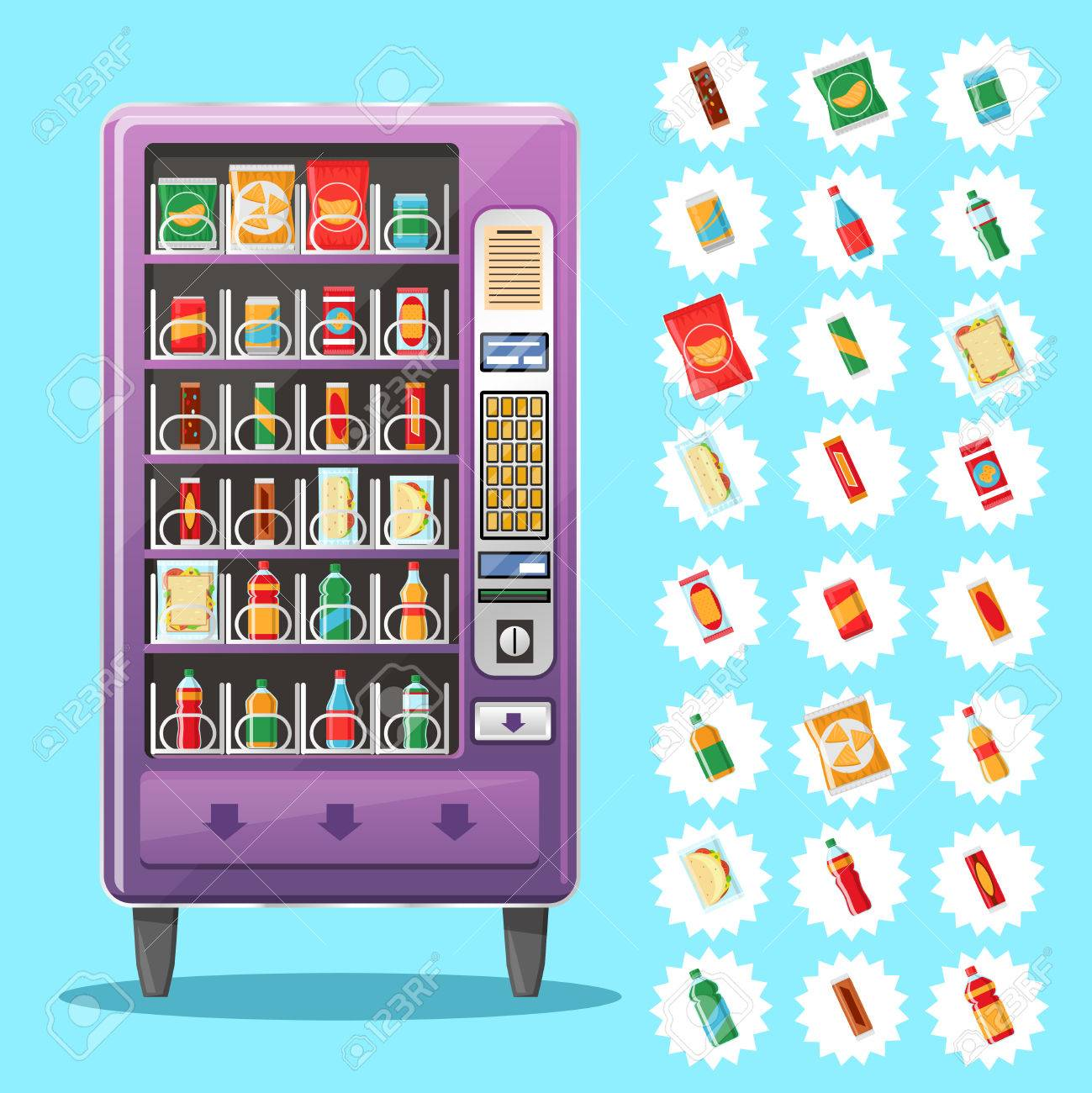 Vending machine with snacks and drinks. Machine automatic, public vending, snack drink, purchase food. Vector illustration - 54453277