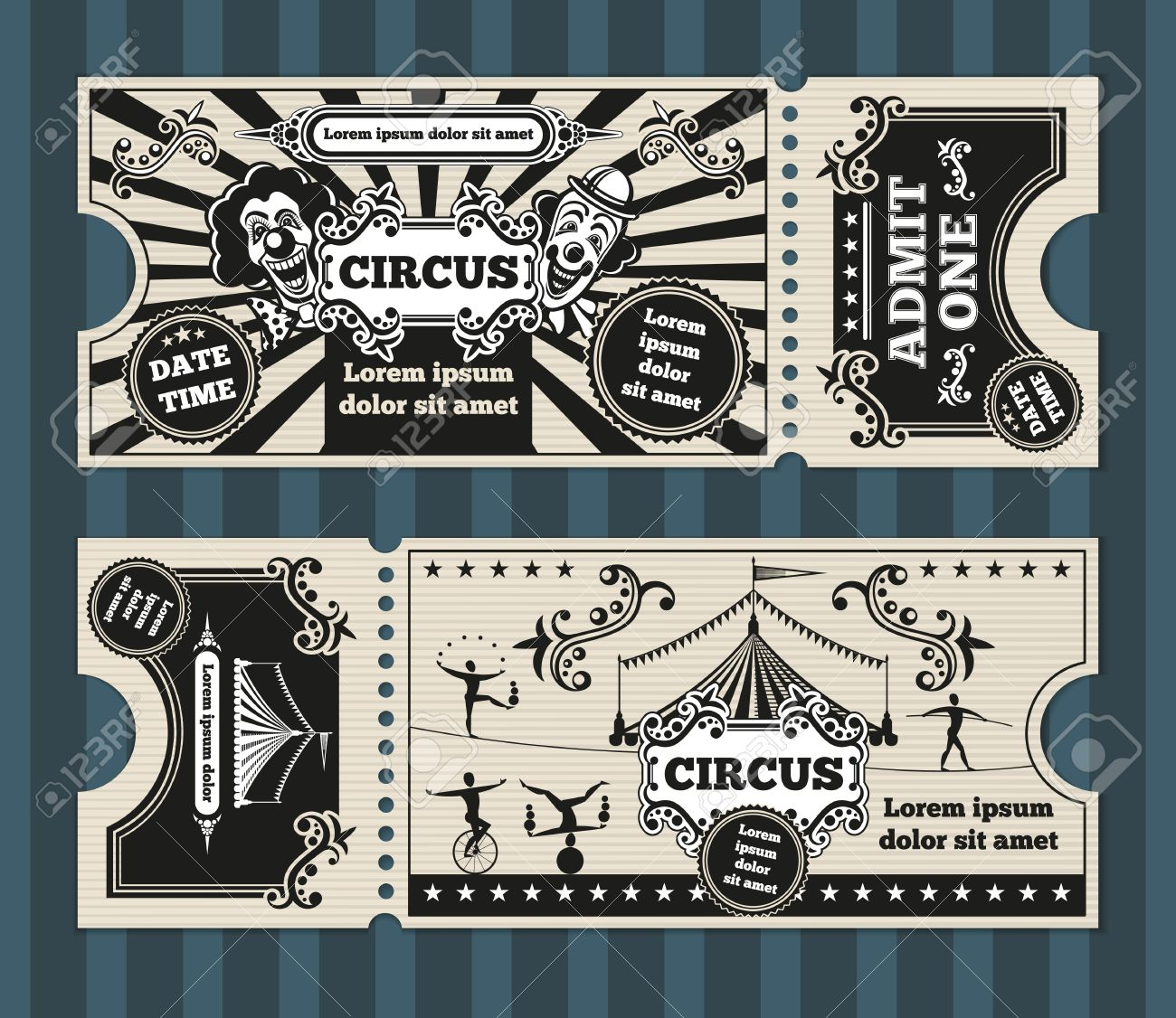 birthday card with circus tickets vector template ticket invitation