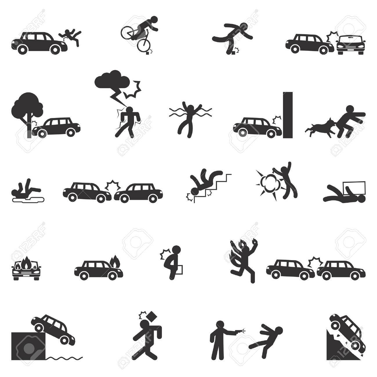 Accident icons vector set. Accident fire, accident transportation, disaster accident danger illustration - 54596917