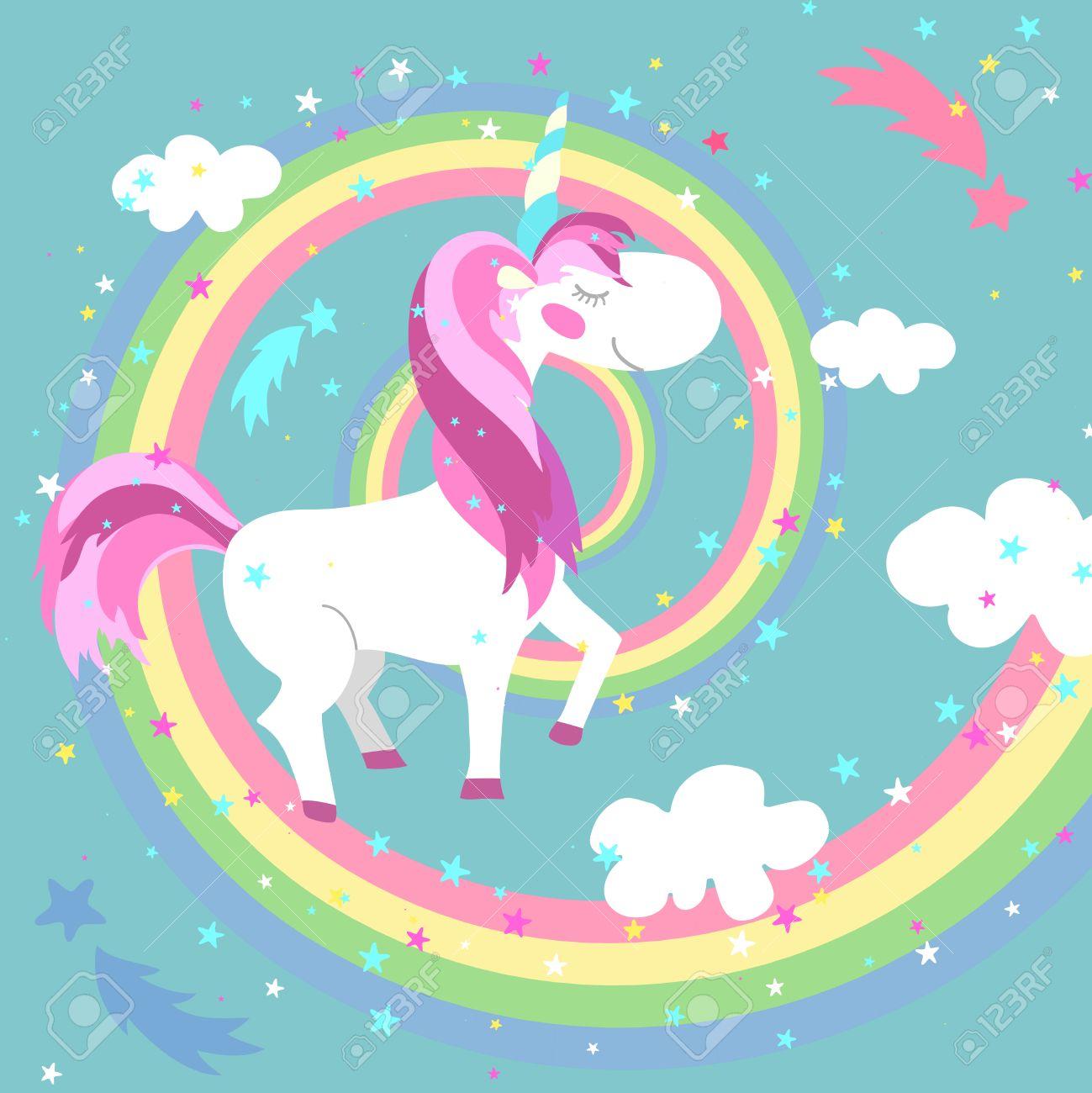 unicorn and rainbow vector illustration unicorn on colored