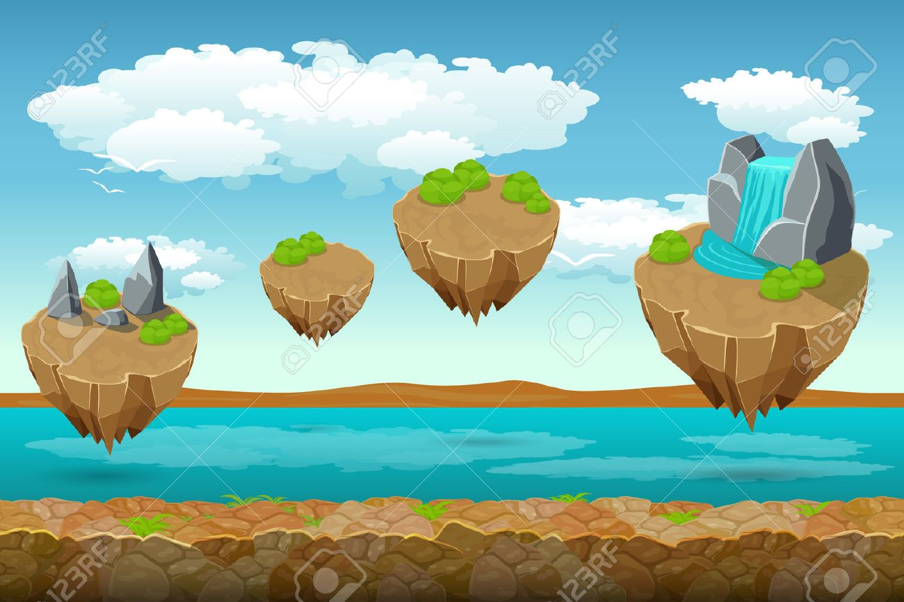 Jumping Islands Game Pattern The River Bottom And Cloudy Sky - River game