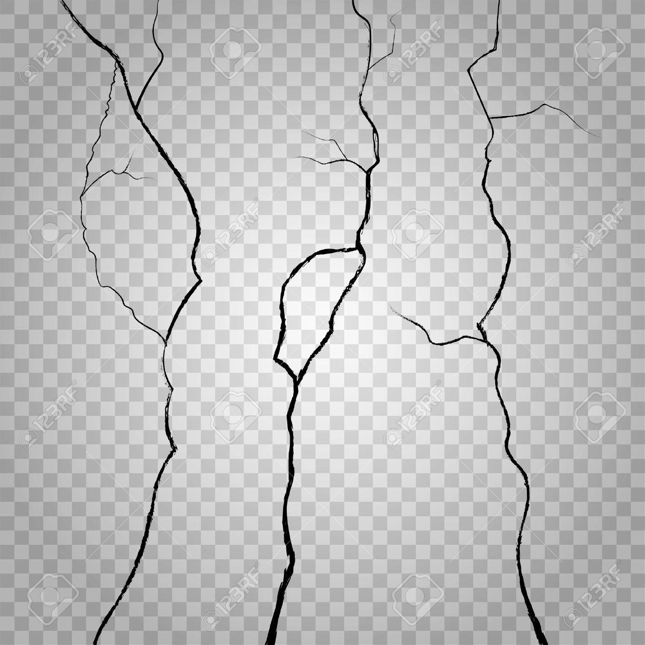 vector wand risse auf transparenten karierten hintergrund. knacken
