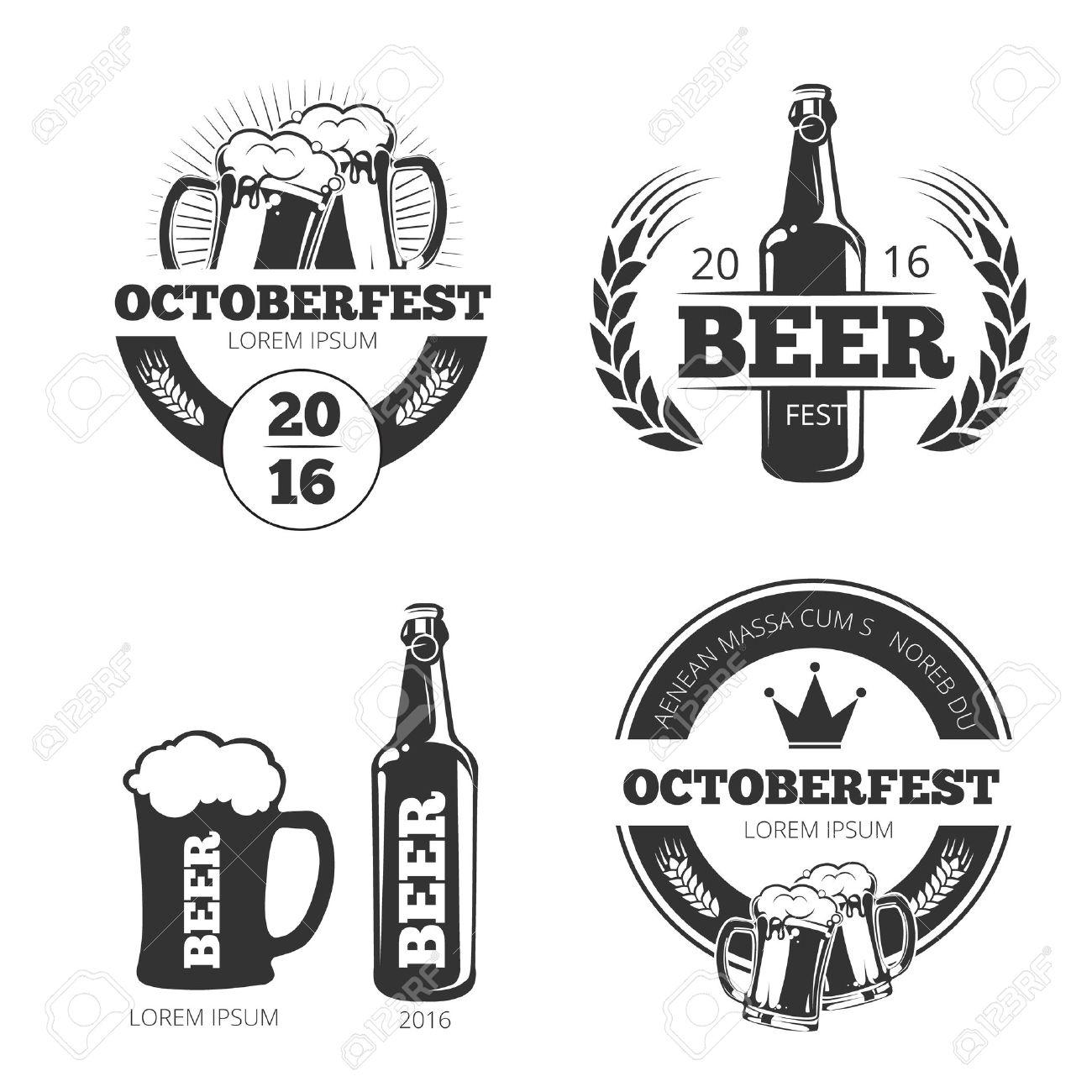 Vintage beer brewery vector emblems, labels, badges, logos set. Emblem beer, badge beer brewery, label brewery beer, beer logo illustration - 55111269