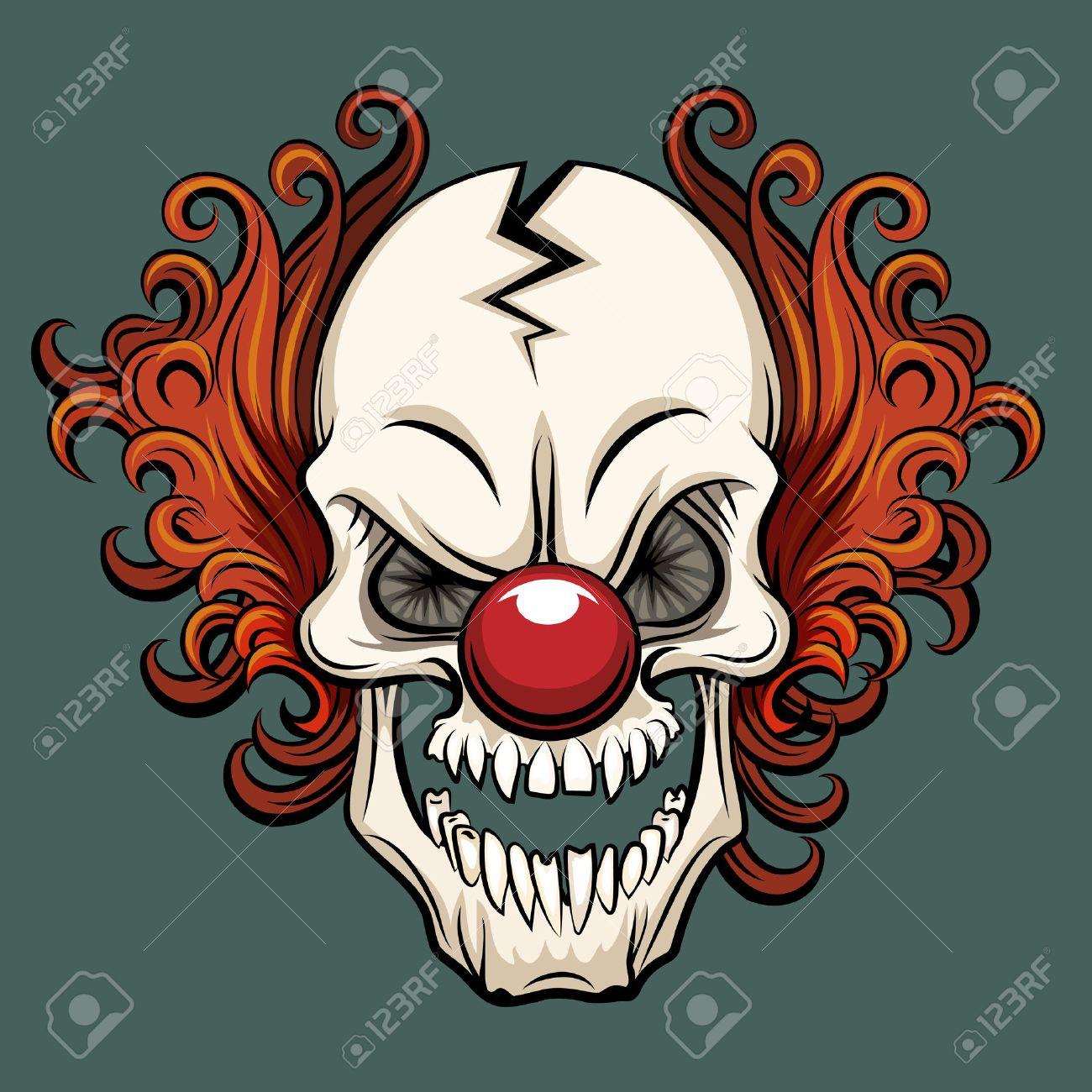Vector evil clown. Clown scary, halloween clown monster, joker clown character illustration - 55462190