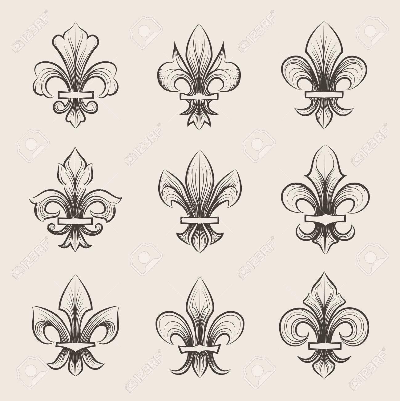 Engraving Fleur De Lis Icons Set Antique Decoration Fleur De