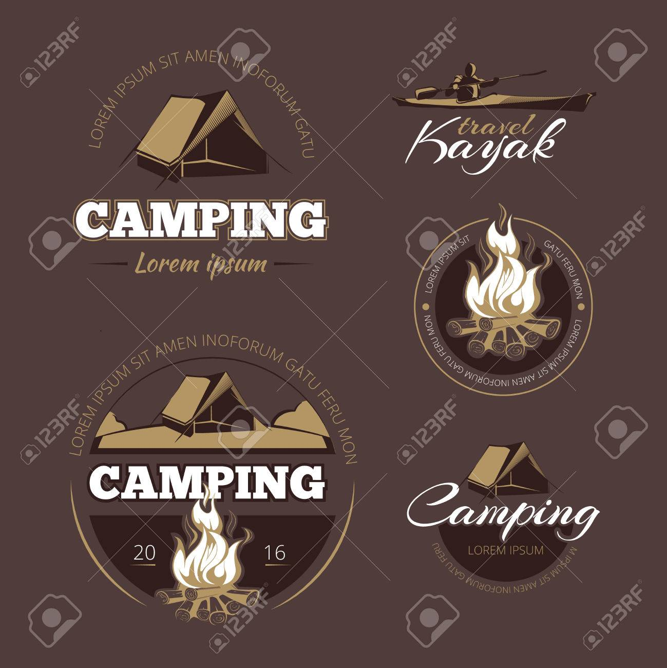Vintage outdoor adventure and camping vector color labels set. Label outdoor camping, vintage camping, logo adventure camping illustration - 55462254